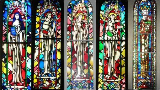 Cinco de las vidrieras de la sala Capitular del monasterio de las Huelgas