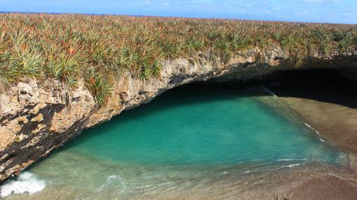 Perspectiva de Playa Escondida o Playa del Amor, en México