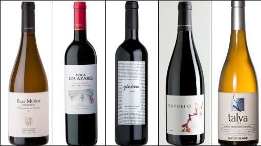 De izquierda a derecha, Blas Muñoz Chardonnay, Finca Los Azares, Gladium, Rayuelo y Talva