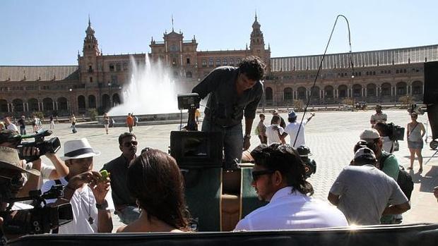 Momento de una grabación de una superproducción de Bollywood