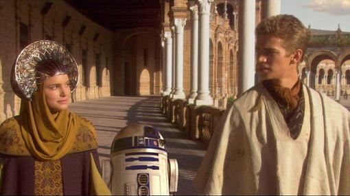 Escena de Star Wars en la Plaza de España