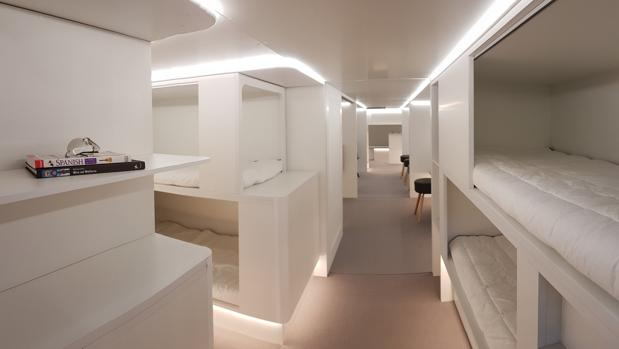 Airbus planea introducir módulos con literas en las bodegas de los aviones -como el de la imagen- para psajeros que deseen dormir con más comidad durante el vuelo